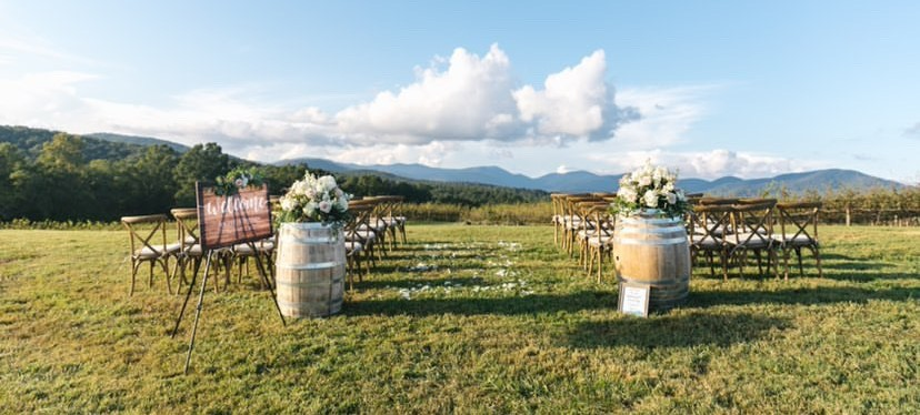 Wedding venue at vineyard overlooking mountains