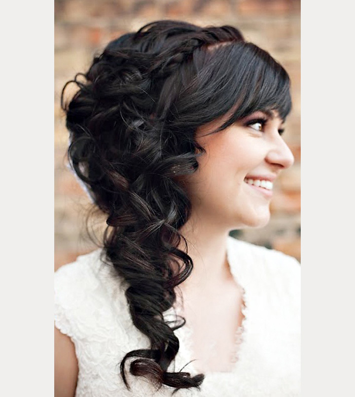 sideswept braid with bangs ~ we ❤ this! moncheribridals.com