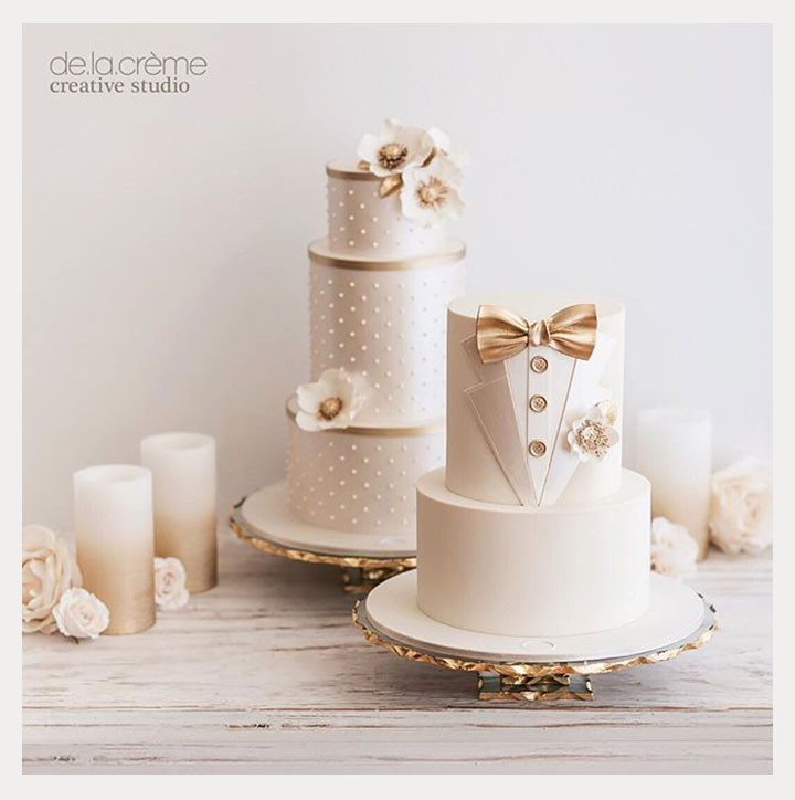 Mr. & Mrs. Wedding Cakes by De La Crème Creative Studio