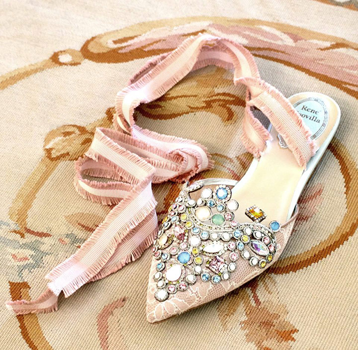 Blush & Nude Jeweled Shoes For Brides By René Caovilla