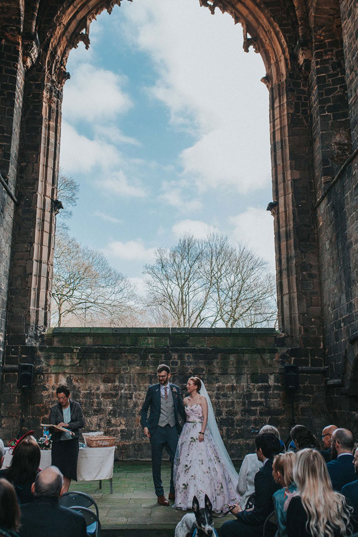 "Romantic Bride Wears Martin Thornburg ""Orabelle"" Amidst The Ruins Of Kirkstall Abbey"