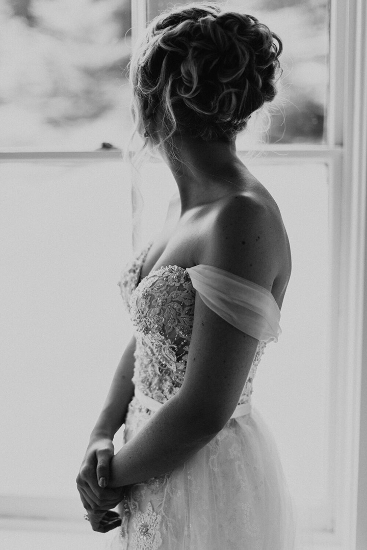 "Joyful Bride Personalizes Her Martin Thornburg ""Vada"" Gown With Tulle Sleeves & Overskirt"
