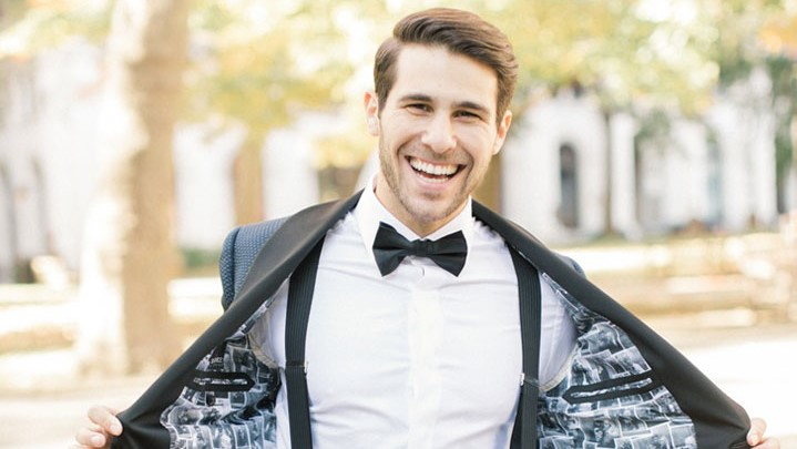 Custom Tux Lined With Selfies Is A Unique Way To Personalize The Groom's Attire