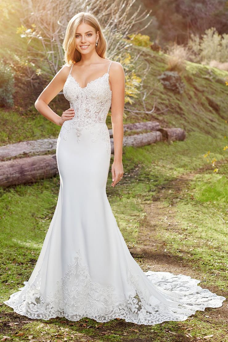 Linden Elegant lace and crepe fit and flare gown with corset bodice