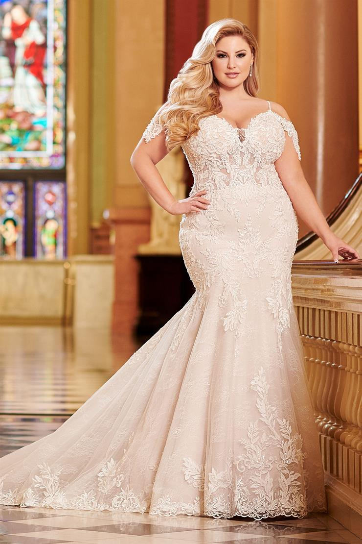 Cambria Ultra-flattering lace plus size mermaid gown with cap sleeves