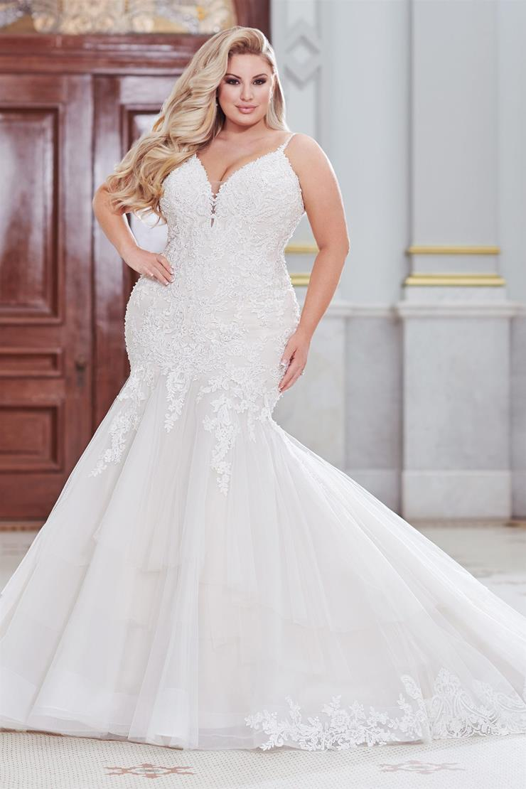 Terra Eye-catching lace plus size trumpet gown with V-back