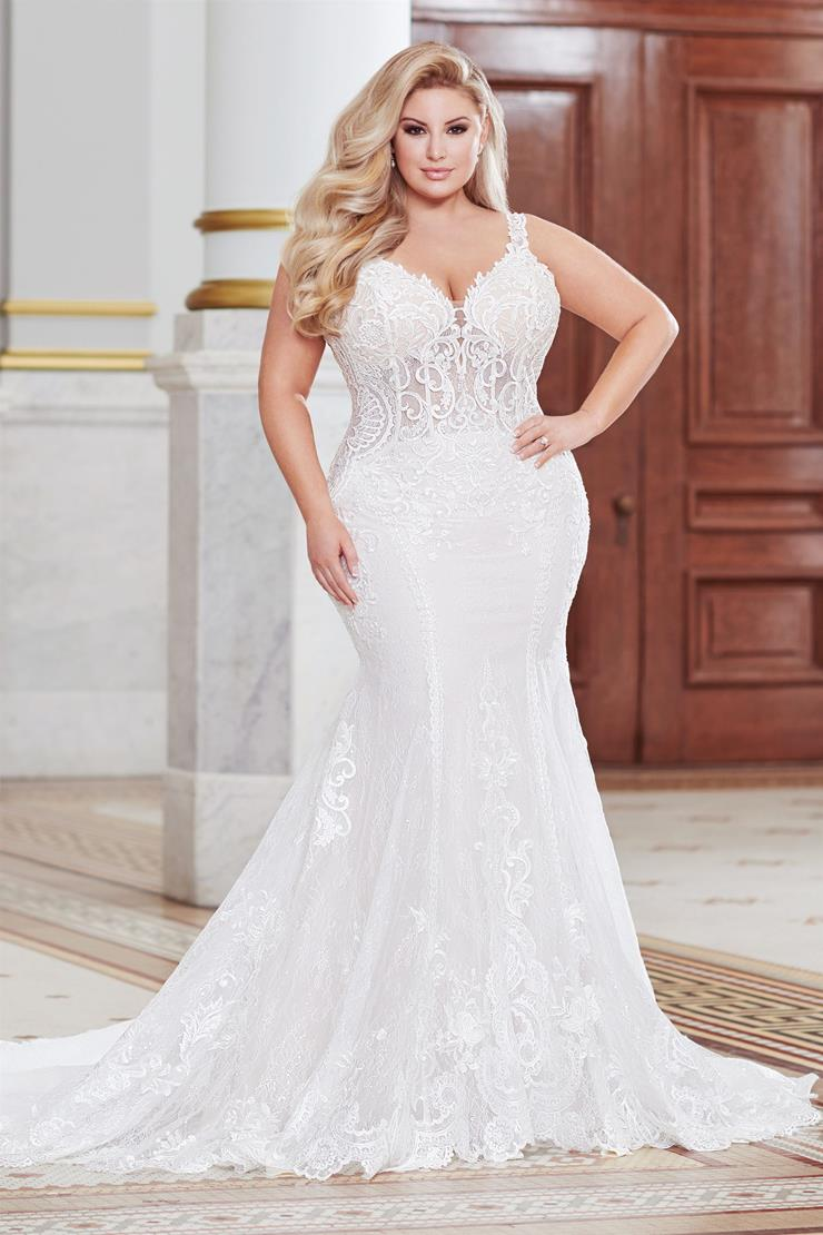 Lorne Alluring plus size fit and flare gown with low back
