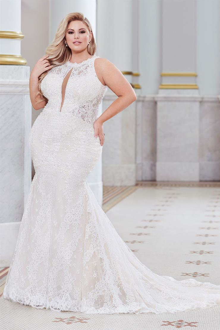 Lindley Delicate lace plus size fit and flare gown with plunging front keyhole
