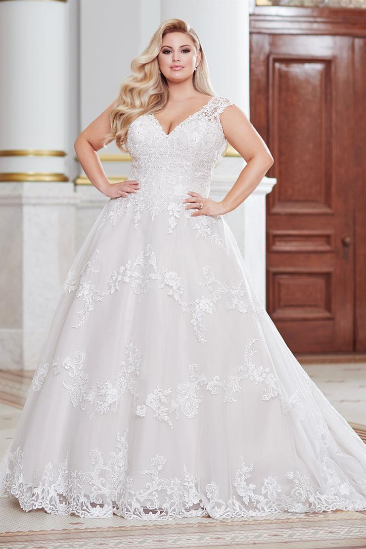 Davenport Stunning plus size A-line gown with bold floral lace embroidery