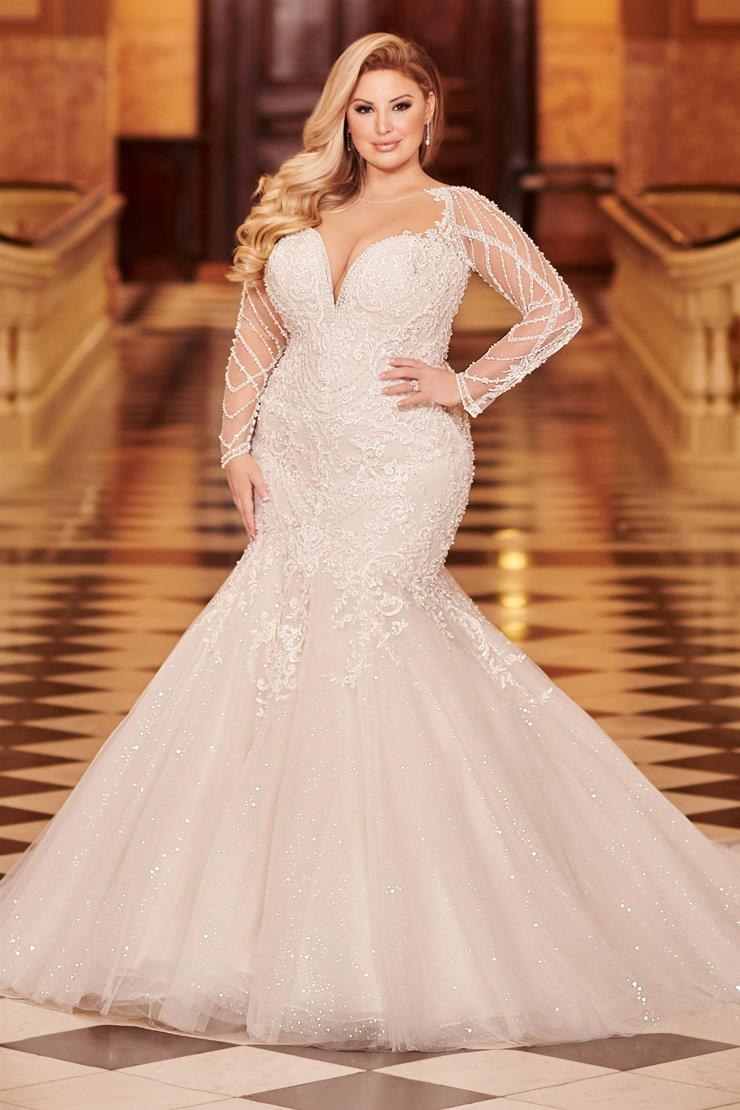 Masina Dramatic plus size mermaid gown with sequin tulle long sleeves