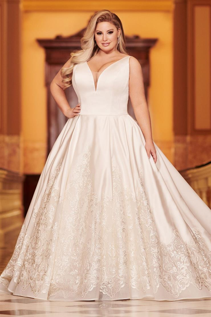 Valerio Splendid satin plus size ball gown with plunging V-neckline