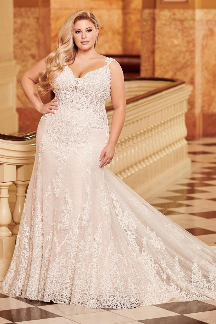 Serra Timeless plus size mermaid gown with intricate lace embroidery