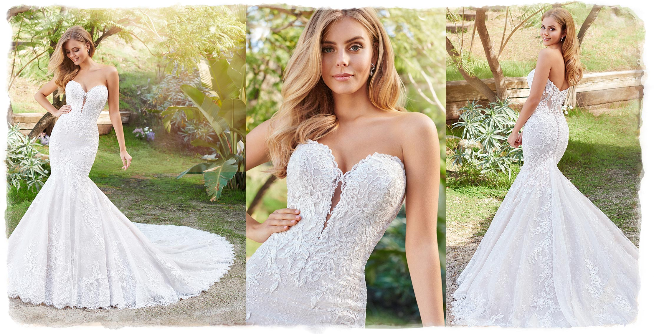 3 photos of blonde model in strapless wedding dress